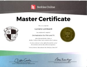 Luciano Lombardi - Berklee Master Certificate - Orchestration for Film and TV